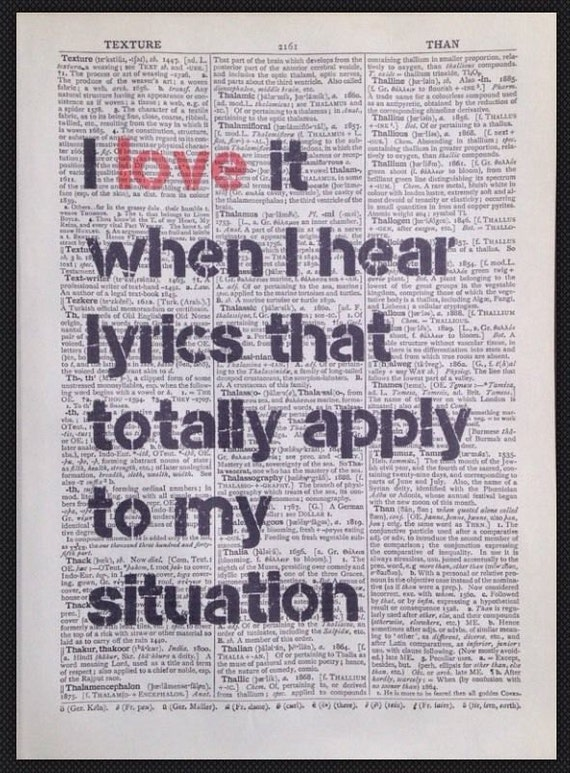 Music Lyrics Quote Print Vintage Dictionary Page Wall Art Picture Quirky Hipster