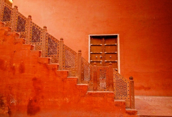 India Photography Architecture Red Door Staircase Wall Etsy
