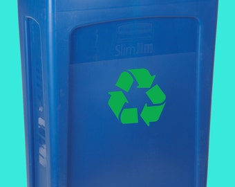 Recycle Decal, Recycle Symbol, Bin Label,  Vinyl Sticker, Home Decor