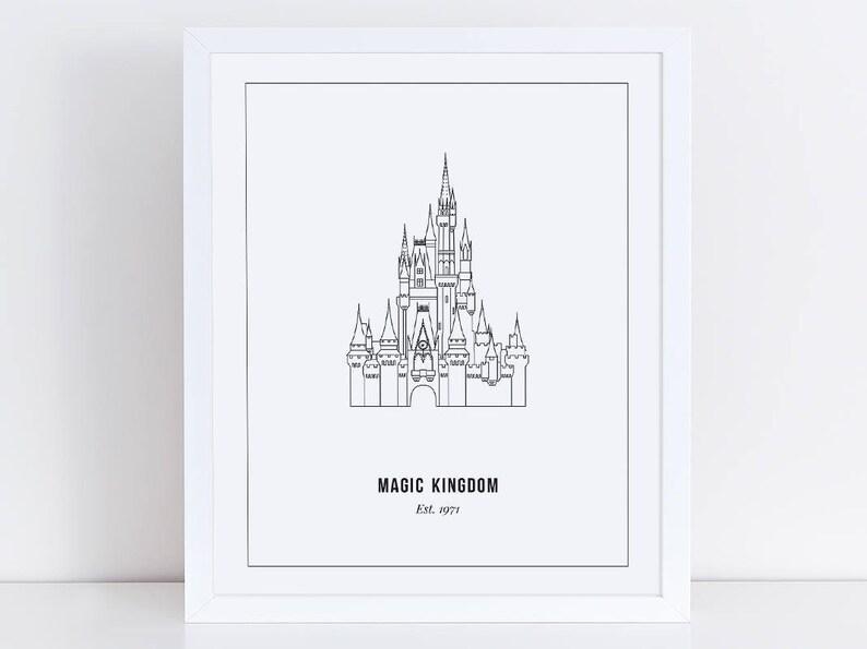 Magic Kingdom Castle Print Outline Disney World Orlando Etsy