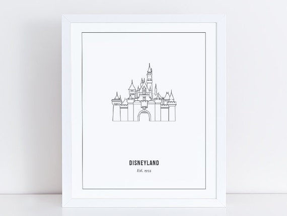 Disneyland Castle Print Outline Anaheim California