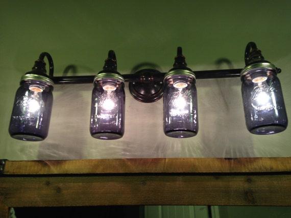 Mason Jar Lights Bathroom Lighting Vanity Lights Purple Etsy