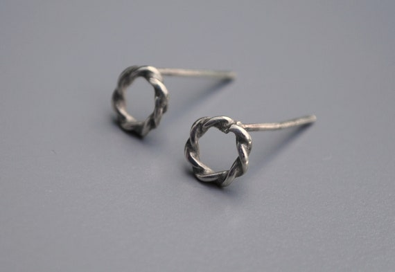Twisted Wire Studs Handmade Rope Earrings .925 Sterling Silver