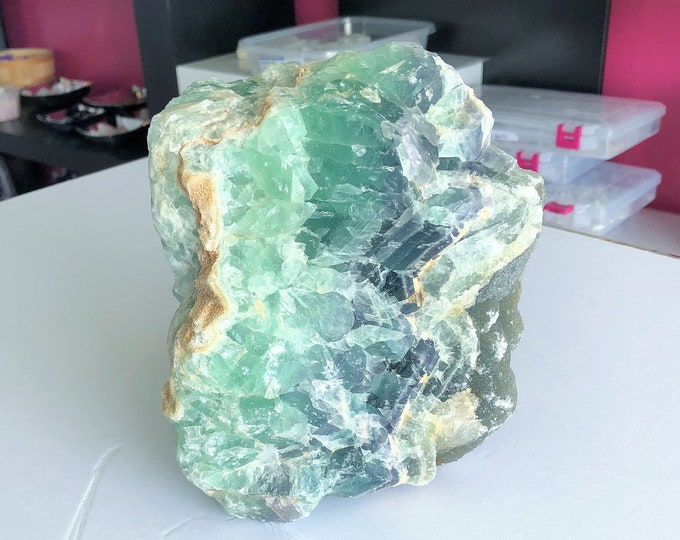 RAW Green Fluorite/Rainbow Fluorite Charged w/ Reiki