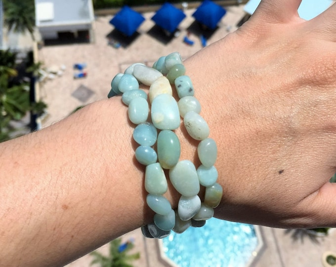 Amazonite Bracelet/ Green Jade Bracelet infused with Reiki- Yoga Jewelry, Healing Bracelet