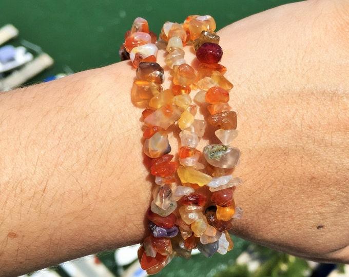 Carnelian Crystal Bracelet / Carnelian Jewelry with Reiki / Chakra Healing Bracelet