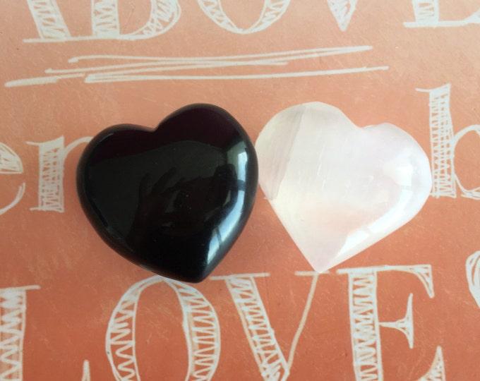Crystal Heart Set / Black Obsidian and Selenite Heart Set