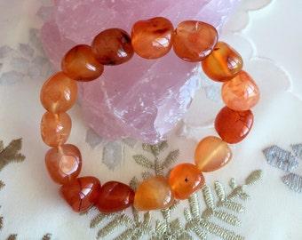 Carnelian Crystal Healing Bracelet w/ Reiki, Stretch Bracelet