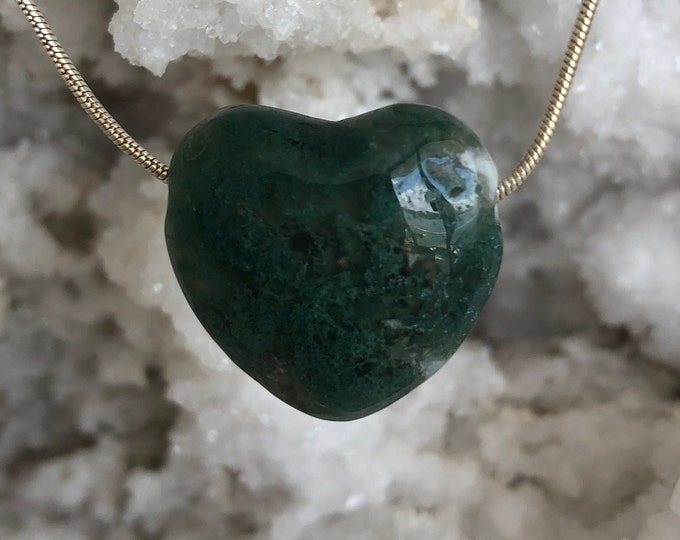 Crystal Heart, Green Moss Agate Jewelry Necklace Set