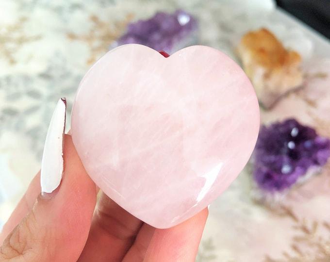 Rose Quartz Heart Crystal Carved Heart