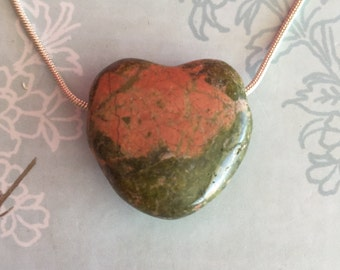 Heart Charm, UNAKITE Heart Pendant Jewelry HEART Necklace /  Healing Crystals and Stones Jewelry