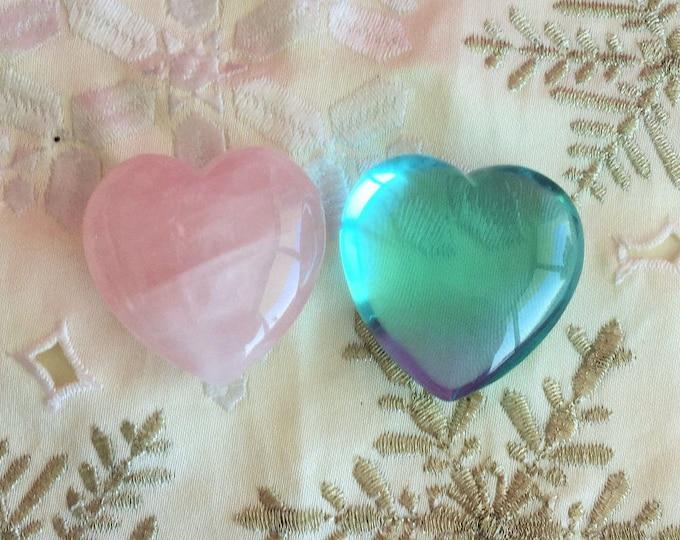 Rose Quartz Crystal Heart SET Aqua Obsidian Heart / Gift for Her