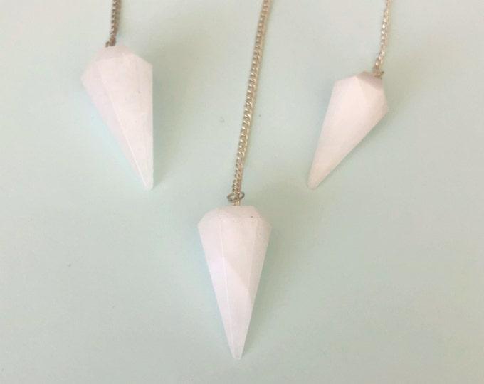 Crystal Pendulum, White Agate Crystal Necklace Pendulum