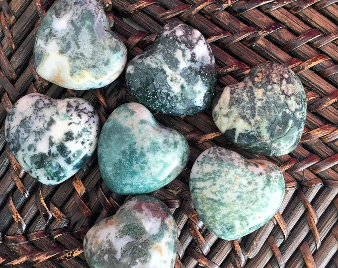 10 Green Moss Agate Hearts / Wholesale Hearts