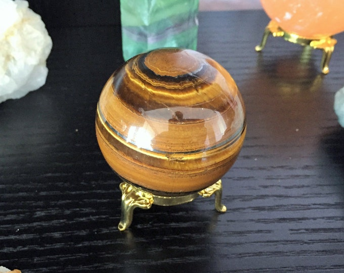 Crystal Ball with Stand, Tigers Eye Gazing Sphere, Altar Tool