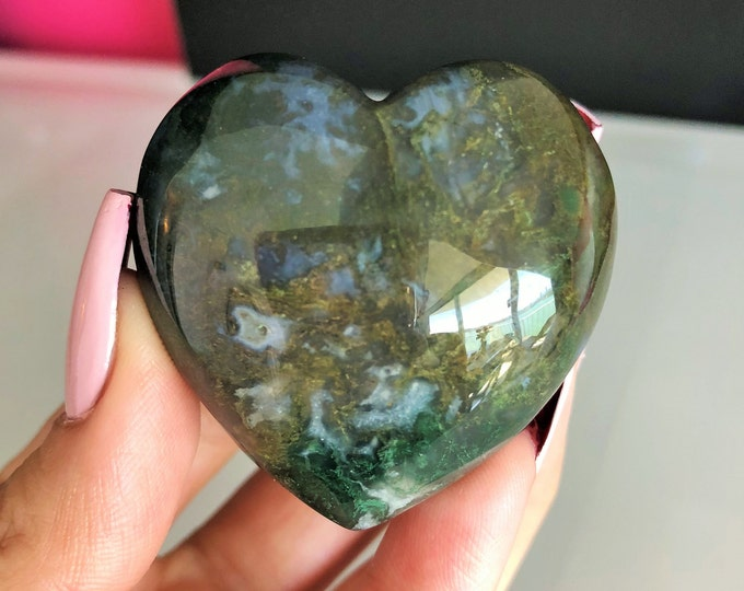 Large Labradorite Heart Crystal, Wicca Meditation Altar Tool Charged w/ Reiki