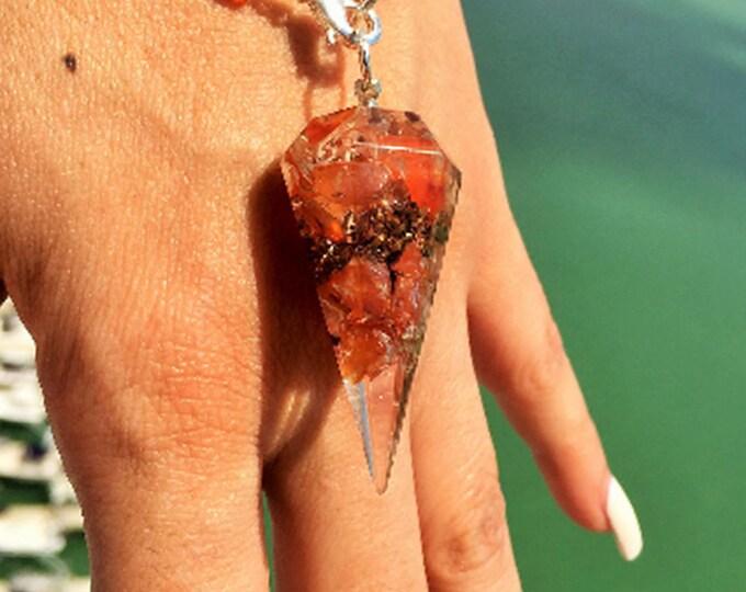 Orgone Pendulum Bracelet /  Carnelian Orgone Jewelry
