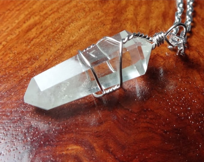 Clear Quartz Pendulum Necklace Jewelry, Wire Wrapped Quartz Crystals for Chakras, Meditation from Chakra Healing Shop Miami