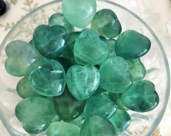 10 Green Fluorite Crystal Hearts -  Clear QUARTZ, Black Obsidian, Crystal Gemstone / Girlfriend Gift / Healing Crystals and Stones