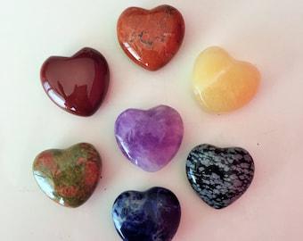 7 pcs Healing Crystals and Stones Chakra Set / Purple Amethyst, Red Jasper, Aventurine, Obsidian Gemstone, 7 Chakra Heart Crystal