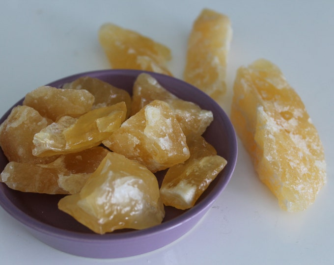 Yellow Calcite MEDIUM Raw Healing Stone Perfect for Reiki, Crystal Grids, Jewelry Supplies