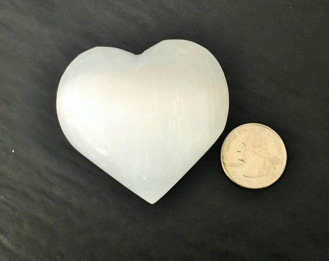 Valentines Day Gift for Him, White Selenite Heart / Large Heart w/ Love and Reiki, Vintage Valentines Day Gift, Chakra Healing Shop Miami