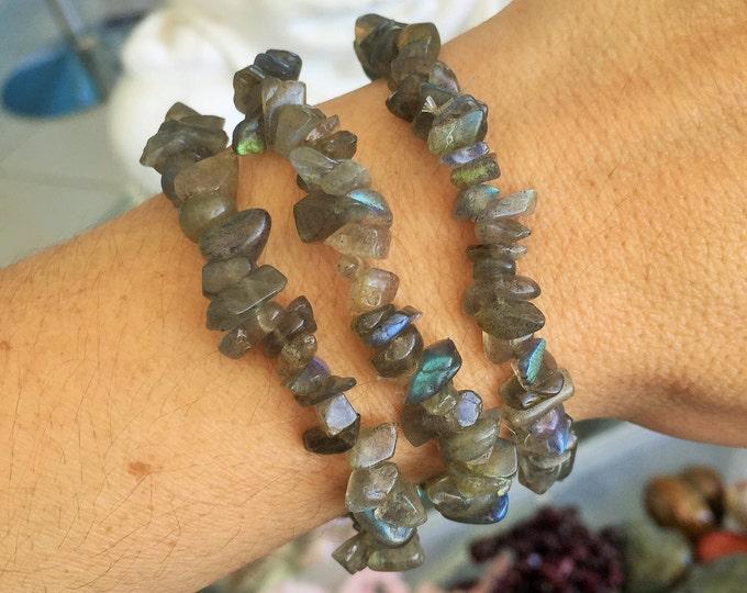 Labradorite Bracelet / Chakra Crystal Healing Bracelet with Reiki