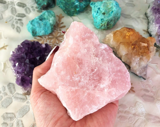 Large Rose Crystal Quartz infused with Love and Reiki