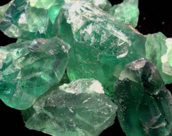 Raw Green Fluorite Crystal Healing Stones, Valentines Day Gift for Him OR Her