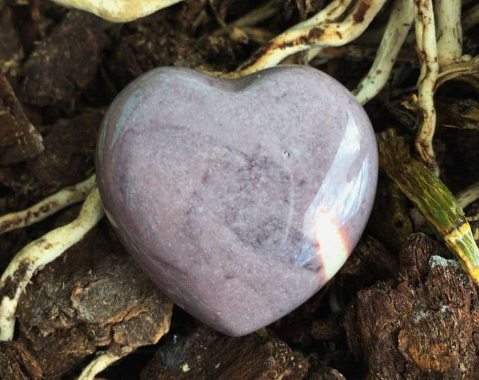 Lavender Mookaite Heart infused with Reiki/ Healing Crystals and Stones