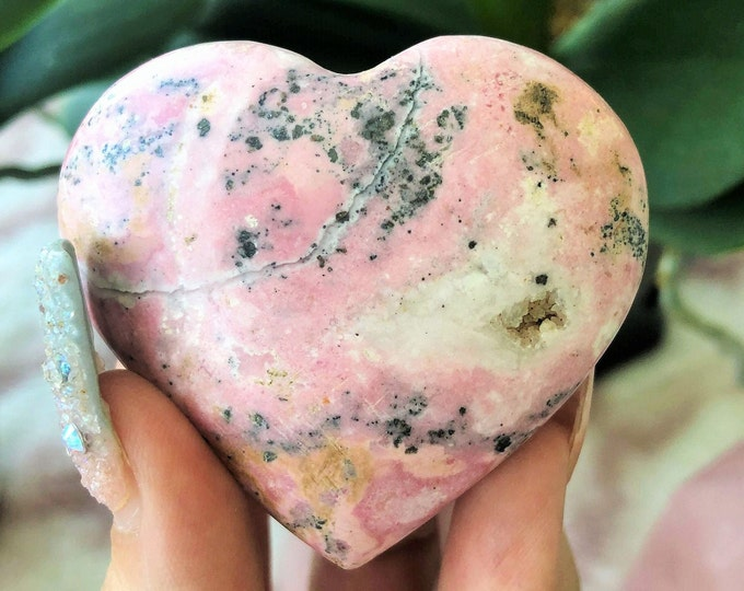 Rhodonite Crystal Heart infused w/ Love and Reiki