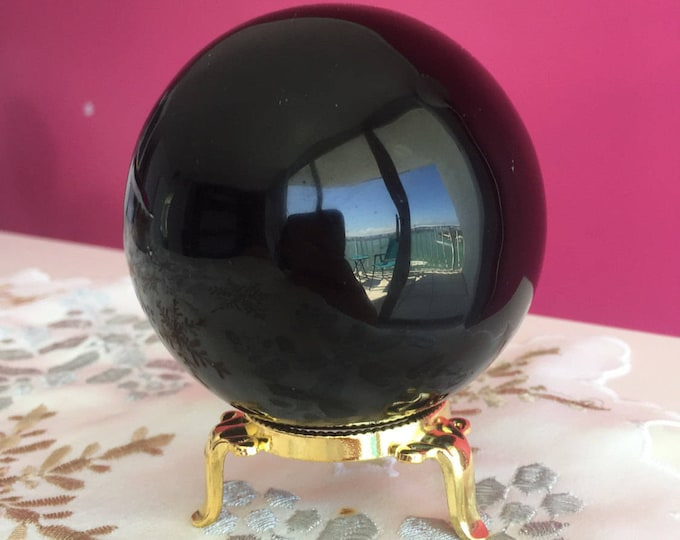 Large Black Obsidian 80mm Crystal Sphere, New Age Gift, Chakra and Reiki Gift, Spiritual Decor, Protection Stone