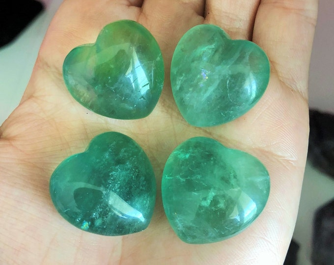 4 Green Fluorite Crystal Hearts, Healing Stones and Crystals