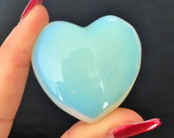 Opalite Heart, Healing, Crystals and Stones w/ Reiki. Crystal Grid, Chakras