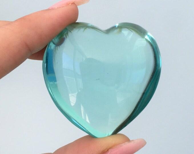 AQUA Obsidian Heart Crystal/Healing Crystals and Stones/Puffy Heart