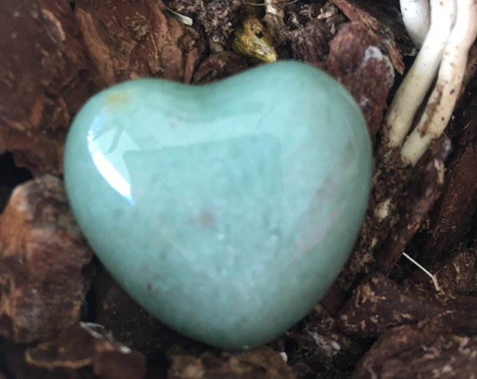 Light Green Aventurine Heart w/ Love and Reiki, Healing Crystals and Stones