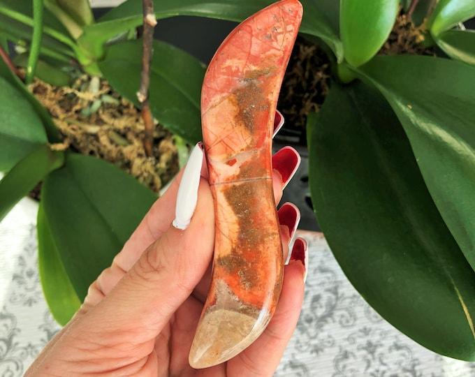 Yoni Wand Breciatted Red Jasper Pleasure Crystal Wands / Crystal Dildo