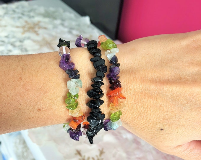 Chakra Bracelet w/ Black Tourmaline Healing Bracelet Jewelry