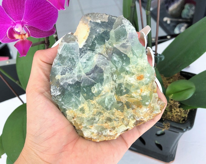 Raw Rainbow Fluorite Crystal Large Standing Stone, Chakra Healing Crystals and Stones Wicca Meditation Altar Tool