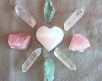 One of a Kind Crystal Grid Set for Love and Relationships