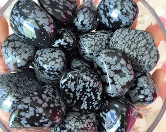 10 Snowflake Obsidian Large Tumbled Polished Stones Wholesale Deal!