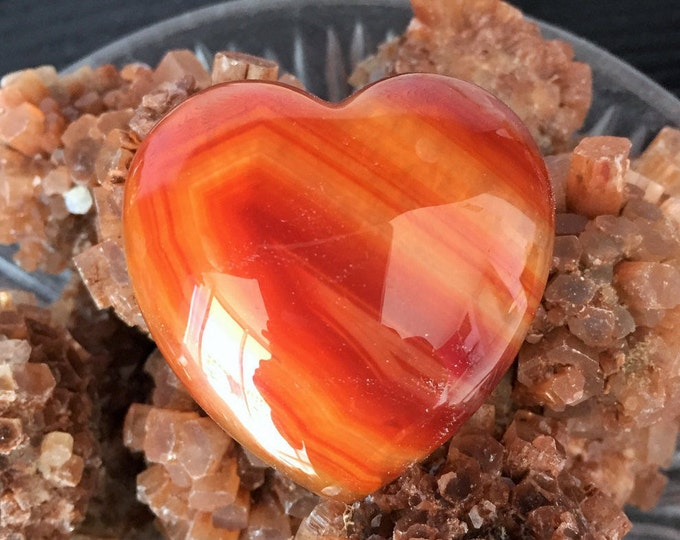 Crystal Healing Heart, Carnelian Polished Gemstone Charged with Reiki