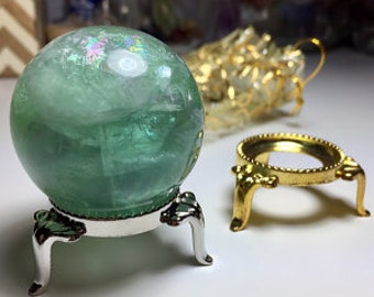 Large Crystal Ball Stand- Silver and Gold Sphere Stands / New Orleans Gifts