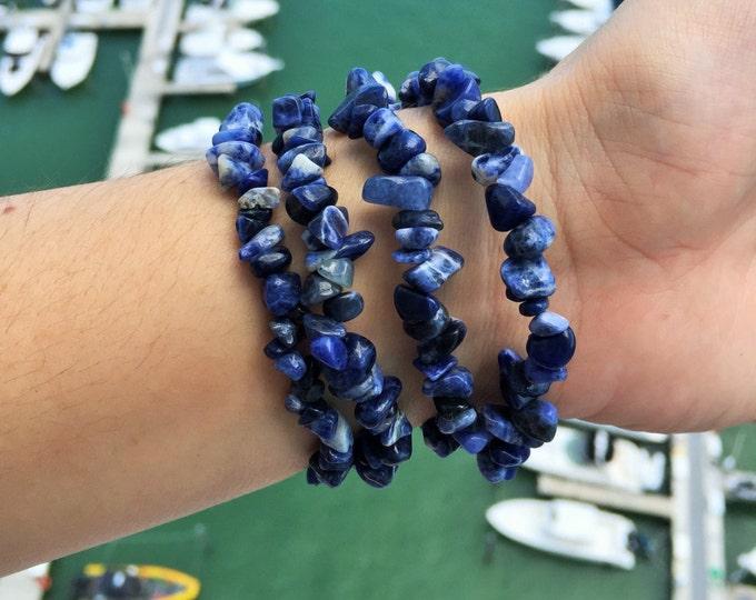 Blue Sodalite Bracelet, Healing Crystals and Stones w/ Reiki, Sodalite Jewelry