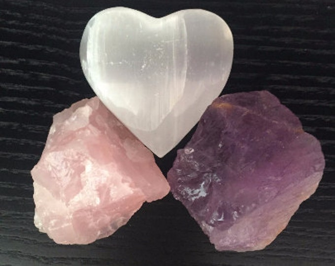 Rose Quartz Crystal LOVE Set, Healing Crystals and Stones SET infused w/ Reiki
