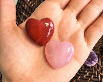 Increase your Sex Drive with Red Jasper and Rose Quartz Heart Set/Puffy Hearts