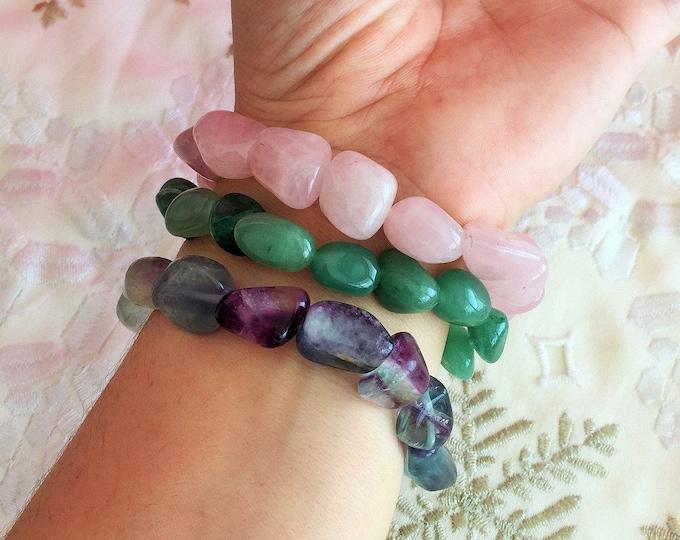 Love Bracelets made with Rose Quartz, Aventurine, Rainbow Fluorite
