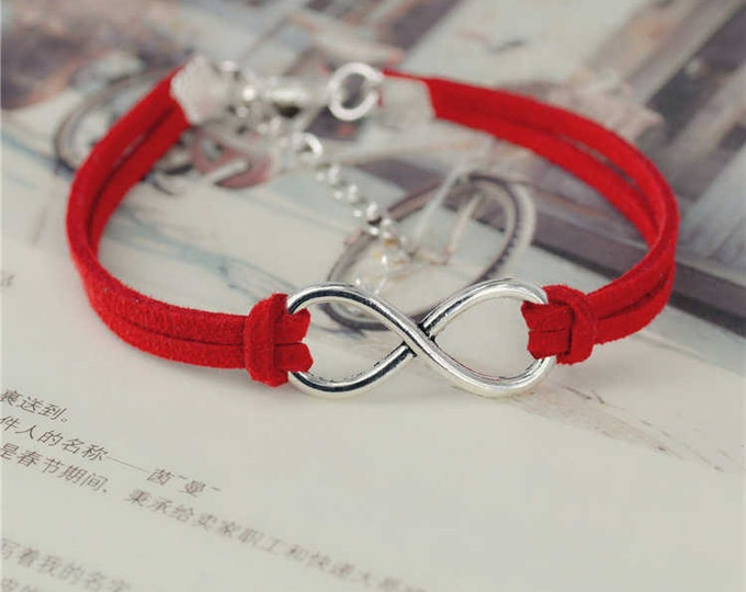 Infinity Silver Plated RED Leather Bracelet