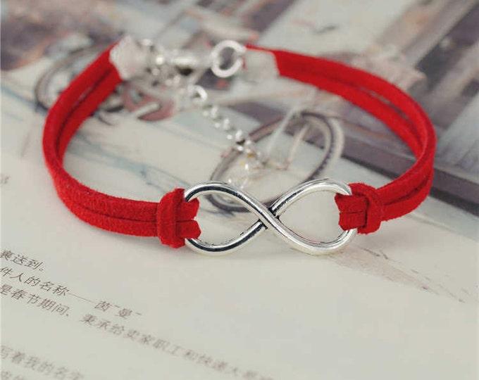Infinity Leather Bracelet/ Infinity Bracelet/ Silver Plated