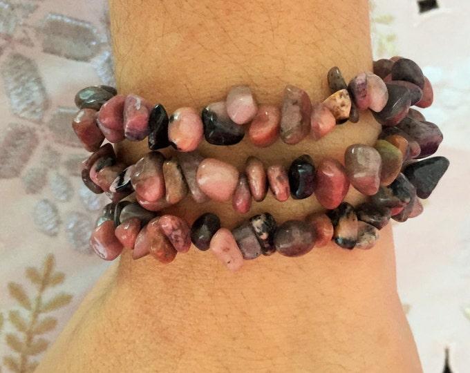 Rhodonite Bracelet Jewelry w/ Reiki, Meditation, Heart Chakra / Healing Crystal Bracelet Jewelry